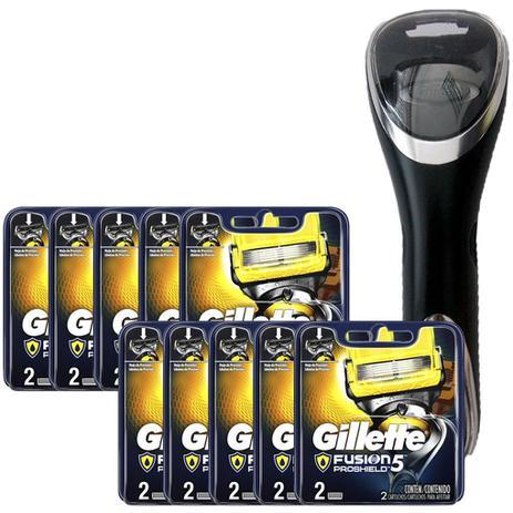 Imagem de Kit 20 Cargas Gillette Aparelho de Barbear Fusion Proshield +  Porta Aparelho