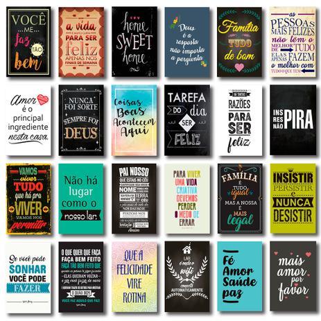 Kit 24 Placas Decorativas Mdf Frases Motivacionais Família Art Print