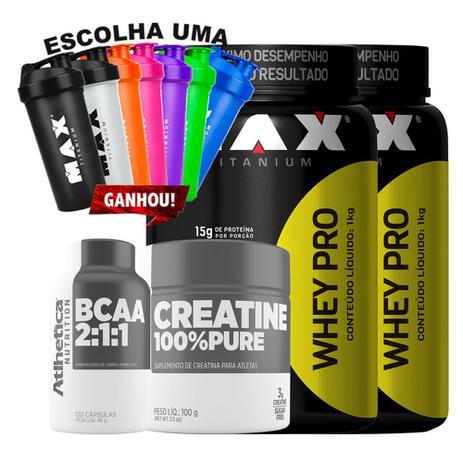 942e5dbab Kit 2x Whey Pro + Creatina 100 pure + Bcaa 2 1 1 + Coque - Max titanium