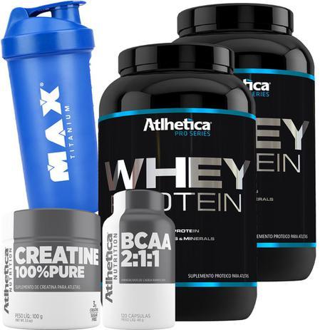 b36f7ab08 Kit 2x Whey Protein + Creatina + Bcaa + Coquetel - Atlhetica - Atlhetica  nutrition