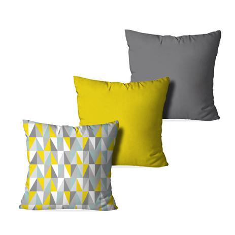a6d78a4f0b3816 Kit 3 Almofadas Decorativas Geometric 3D - Love decor