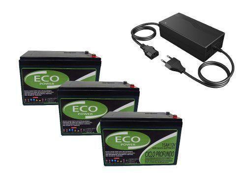 Imagem de Kit 3 Bateria 12v 15ah e Carregador 36v Bike Elétrica
