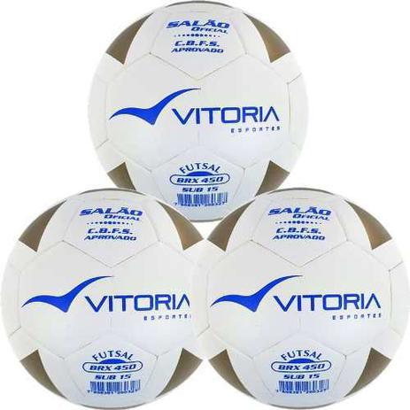 0eece0092b7fa Kit 3 Bolas Futsal Vitoria Brx Max 450 Sub 15 (13 A 15 Anos) - Vitoria  esportes