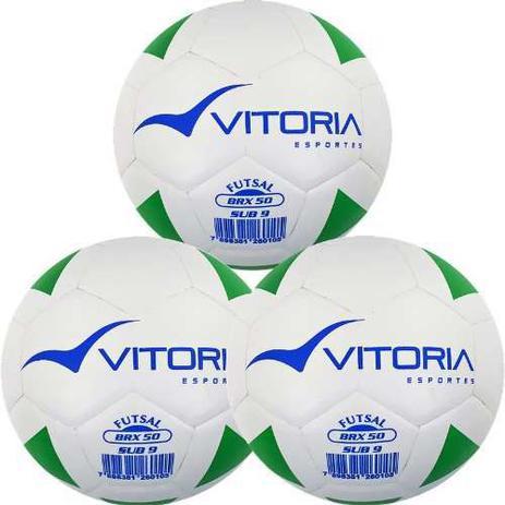 c4dd36c6e1 Kit 3 Bolas Futsal Vitoria Brx Max 50 Sub 9 (6 A 8 Anos) - Vitoria esportes