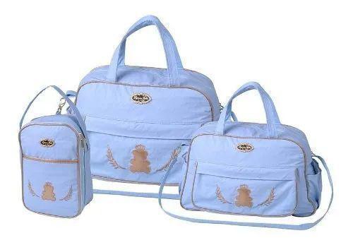 Imagem de Kit 3 bolsas mala saída maternidade espera feliz  barato azul claro menino