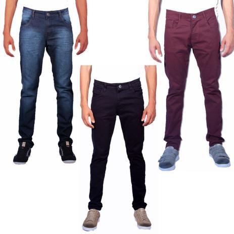 2b239cbf4 Kit 3 calças jeans masculina skinny sandro clothing 003 black - Sandro  moscoloni