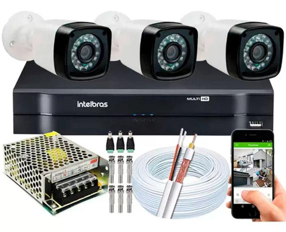 Imagem de Kit 3 Cameras Segurança 720p Full Hd Dvr Intelbras 4ch S/hd