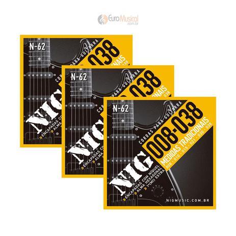 Imagem de Kit 3 Encordoamentos Guitarra Nig Tradicional .008/.038 N62