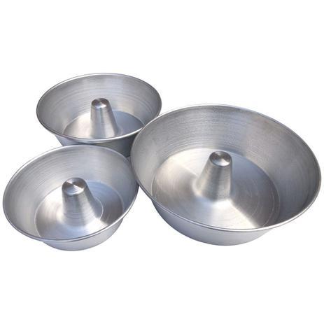 Imagem de Kit 3 Formas Assadeiras de Alumínio Redonda De Pudim e Bolo Tamanhos 16cm 20cm 24cm