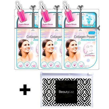 Imagem de Kit 3 Máscaras Faciais Collagen Power Basall + Nécessaire