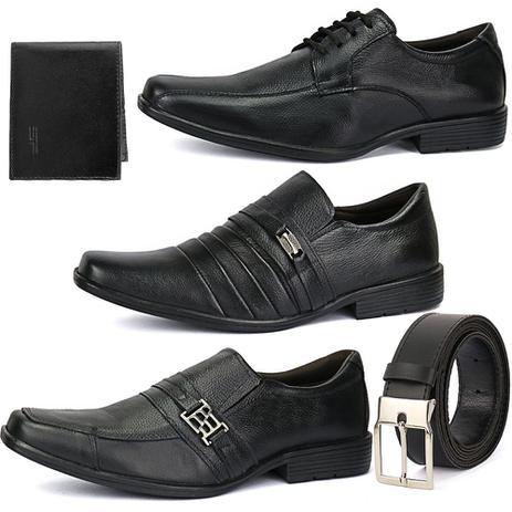 9302f89a17c Kit 3 Pares Sapato Social Em Couro Bico Fino Com Cinto E Carteira - Ws shoes
