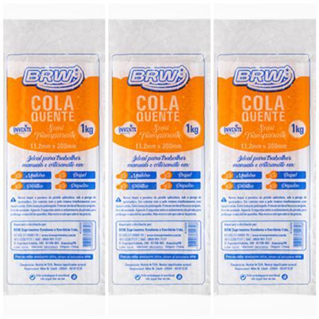 Imagem de Kit 3 Pct Bastão 11,2mm Cola Quente grossa brw 1kg