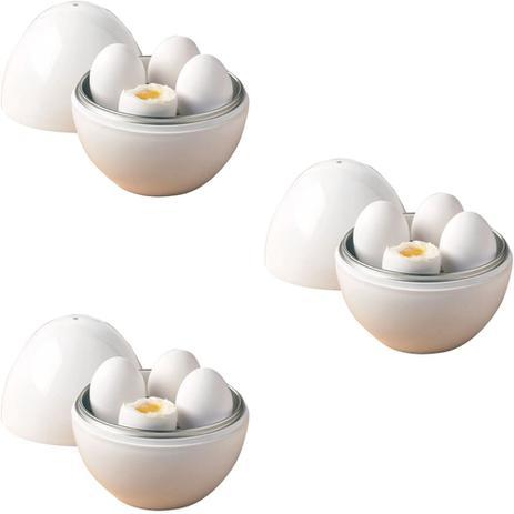 Imagem de Kit 3 Pote Cozinhar Até 4 Ovos Microondas Cozedor Forma Ovo