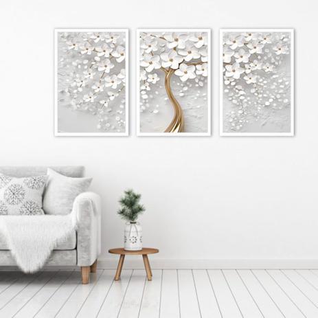Imagem de Kit 3 Quadros Árvore Cerejeira Branca Flores 30x45 cm