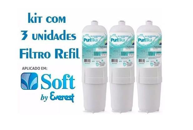 Imagem de Kit 3 Refil Filtro Purificador Água Soft Everest Slim Fit Baby Star Flat Plus