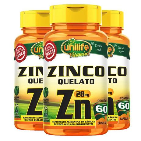 Imagem de Kit 3 Zinco Quelato cápsulas 60 cápsulas Unilife