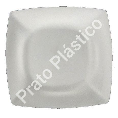 Imagem de Kit 30 Pratos Sobremesa Plástico Rígido Quadrado Lavável de Festa Buffet 18x18 Cm Cor: Branca