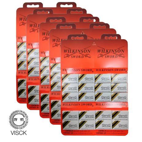 Imagem de Kit 300 Lâminas Wilkinson Gillette Barbear p/ navalha Cartela C/ 60 Un cada)