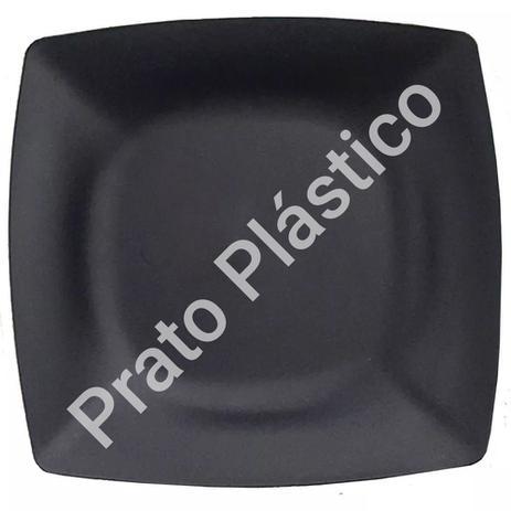 Imagem de Kit 36 Pratos Sobremesa Plástico Rígido Quadrado Lavável de Festa Buffet 18x18 Cm Cor: Preta