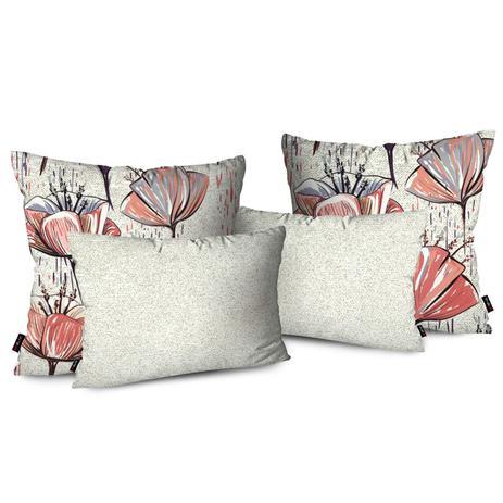 9941deb94 Kit 4 Almofadas Decorativas Premium Off White Floral - Pump up ...