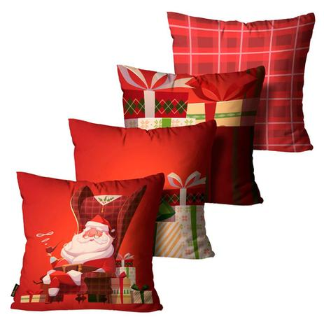 Imagem de Kit 4 Almofadas Mdecore Natal Papai Noel Vermelha