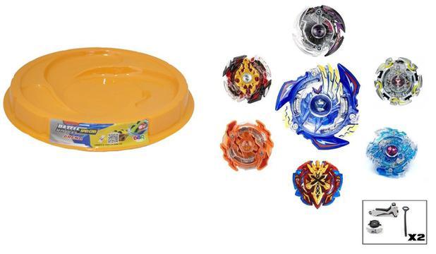 Imagem de Kit 4 Beyblade Burst +2 Lançador Rantaro, Daigo, Shu + Arena