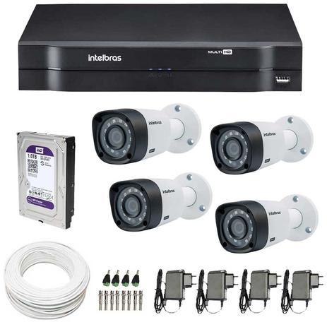 98930e117a5 Kit 4 Câmeras de Segurança HD 720p Intelbras VHD 3120B G4 + DVR Intelbras  Multi HD + HD WD Purple 1TB + Acessórios