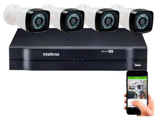 Imagem de Kit 4 Cameras Segurança 720p Full Hd Dvr Intelbras 4ch S/hd