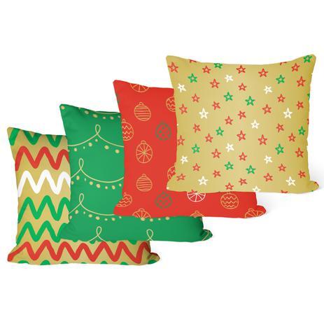 Imagem de Kit 4 Capas para Almofadas Decorativas de Natal Colorida