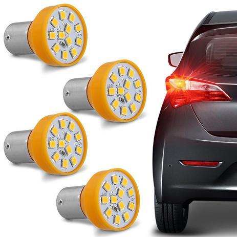 Imagem de Kit 4 Lâmpadas 12 LEDs 1 Polo Trava Reta 21W 12V Luz Laranja Aplicação Pisca Seta