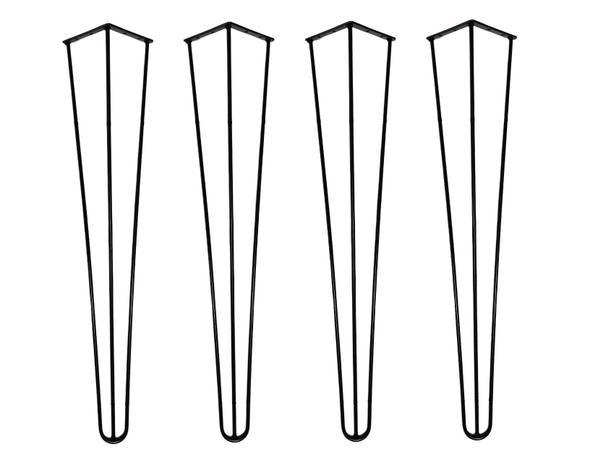 Imagem de Kit 4 Pé Hairpin Leg Triplo 75cm Preto 6mm 1/4 Móveis Mesa Lateral Escrivaninha