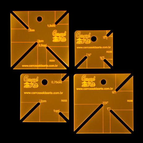 Imagem de Kit 4 Réguas para Patchwork Canto Mitrado em cm e polegadas