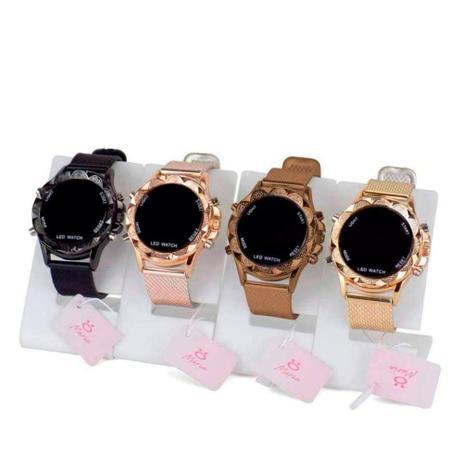 Imagem de Kit 4 Relógios Feminino Led Dourado