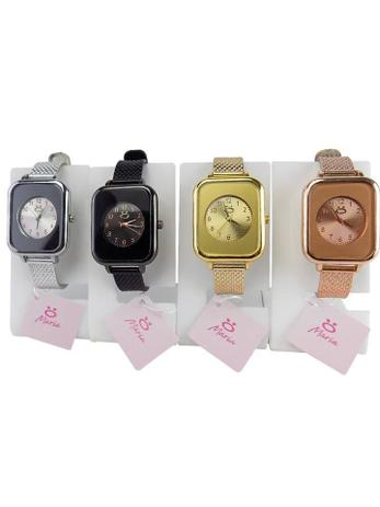 Imagem de Kit 4 Relógios Femininos Pulseira ajustável Dourado + Rosê + Preto + Prata atacado barato pronta entrega.