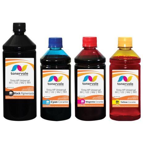 Imagem de Kit 4 Tinta Compatível para Cartucho HP 662 122 60 901 Impressora 3050 2050 2546 de 1L Black e 500ml