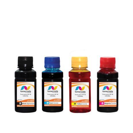 Imagem de Kit 4 Tinta Compatível para Recarga HP 46 Black 46 Color - Impressoras HP 2529 4729 5738 de 100ml