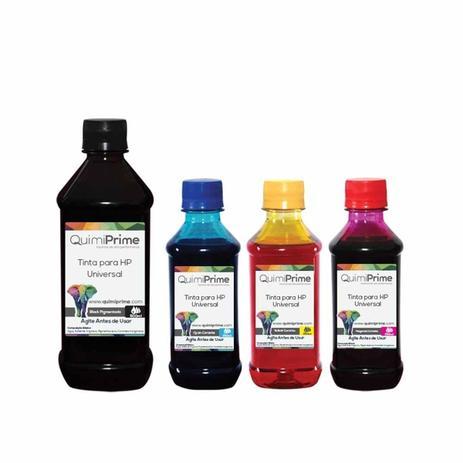 Imagem de Kit 4 Tinta Compatível para Recarga HP Universal de 500ml Black e 250ml Color QuimiPrime