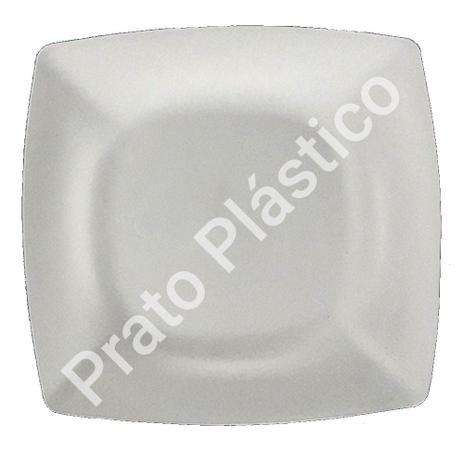 Imagem de Kit 40 Pratos Sobremesa Plástico Rígido Quadrado Lavável de Festa Buffet 18x18 Cm Cor: Branca