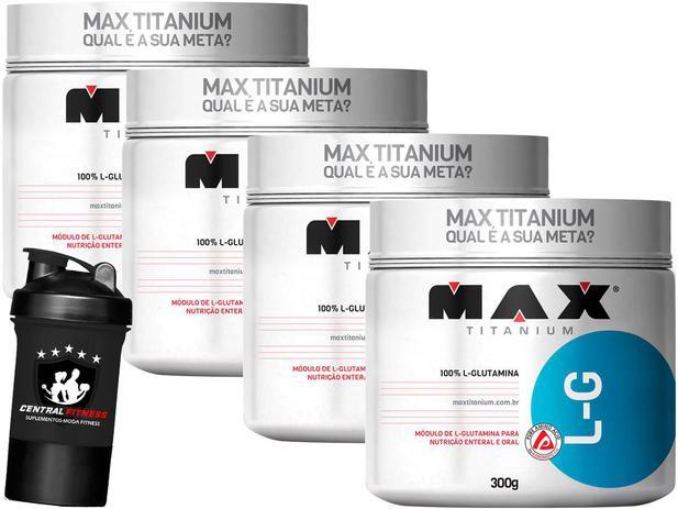 Imagem de Kit 4x L-Glutamina 300g + Coqueteleira - Max Titanium