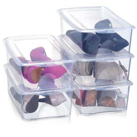 Imagem de Kit 5 Caixas Organizadoras para Sapatos 36x22x12 cm Modelo 1816 Grande Organizador Arthi