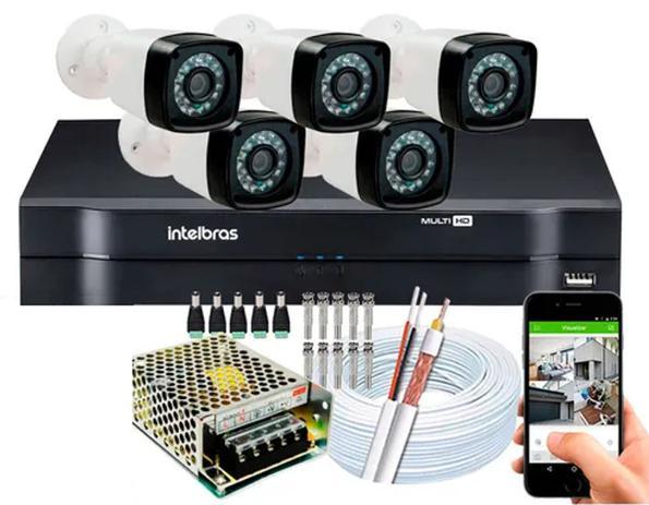 Imagem de Kit 5 Camera de Segurança Infravermelho Full Hd Dvr Intelbras 8ch S/hd