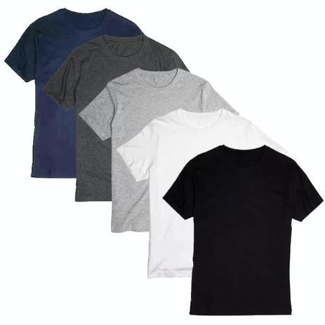 dab578b71f Kit 5 Camiseta Masculina Básica Lisa Camisa Algodão 30.1 - Newbeat ...
