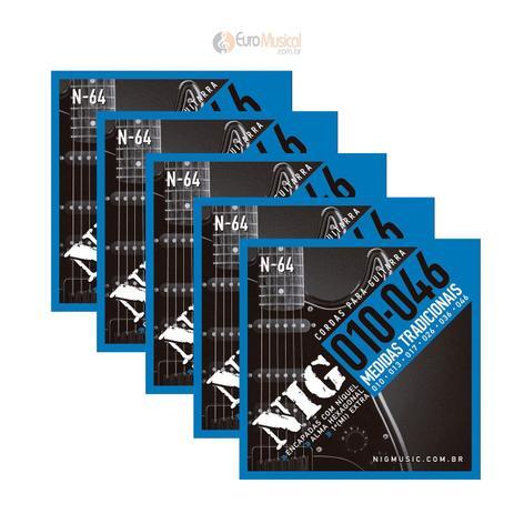 Imagem de Kit 5 Encordoamentos Guitarra Nig Tradicional .010/.046 N64