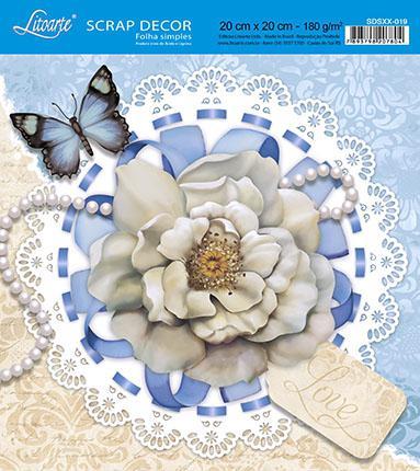 Imagem de Kit 5 Papel Scrap Decor Folha Simples 20x20 Rosa Love SDSXX-019 - Litoarte
