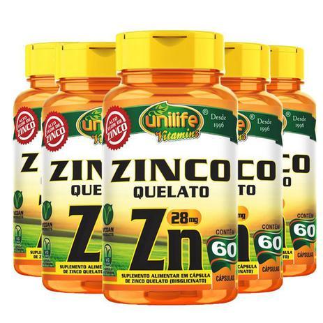 Imagem de Kit 5 Zinco Quelato cápsulas 60 cápsulas Unilife