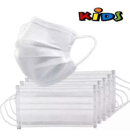 Imagem de Kit 50 Máscara Descartável Infantil Tripla Camada com clipe