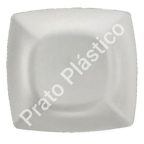 Imagem de Kit 50 Pratos Sobremesa Plástico Rígido Quadrado Lavável de Festa Buffet 18x18 Cm Cor: Branca