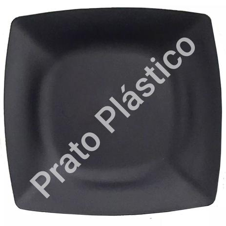 Imagem de Kit 50 Pratos Sobremesa Plástico Rígido Quadrado Lavável de Festa Buffet 18x18 Cm Cor: Preta