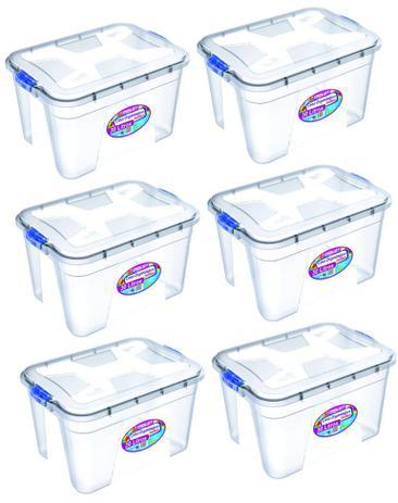 Imagem de Kit 6 Caixas Organizadoras Transparente 30 Litros - Uninjet