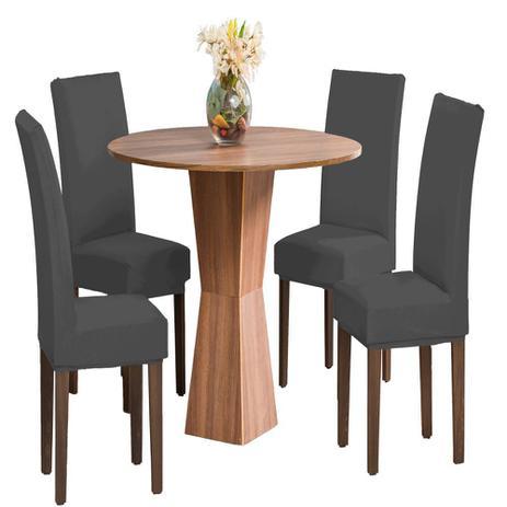 Imagem de Kit 6 Capas Para Cadeira Jantar Malha Com Elástico Oferta - Cinza